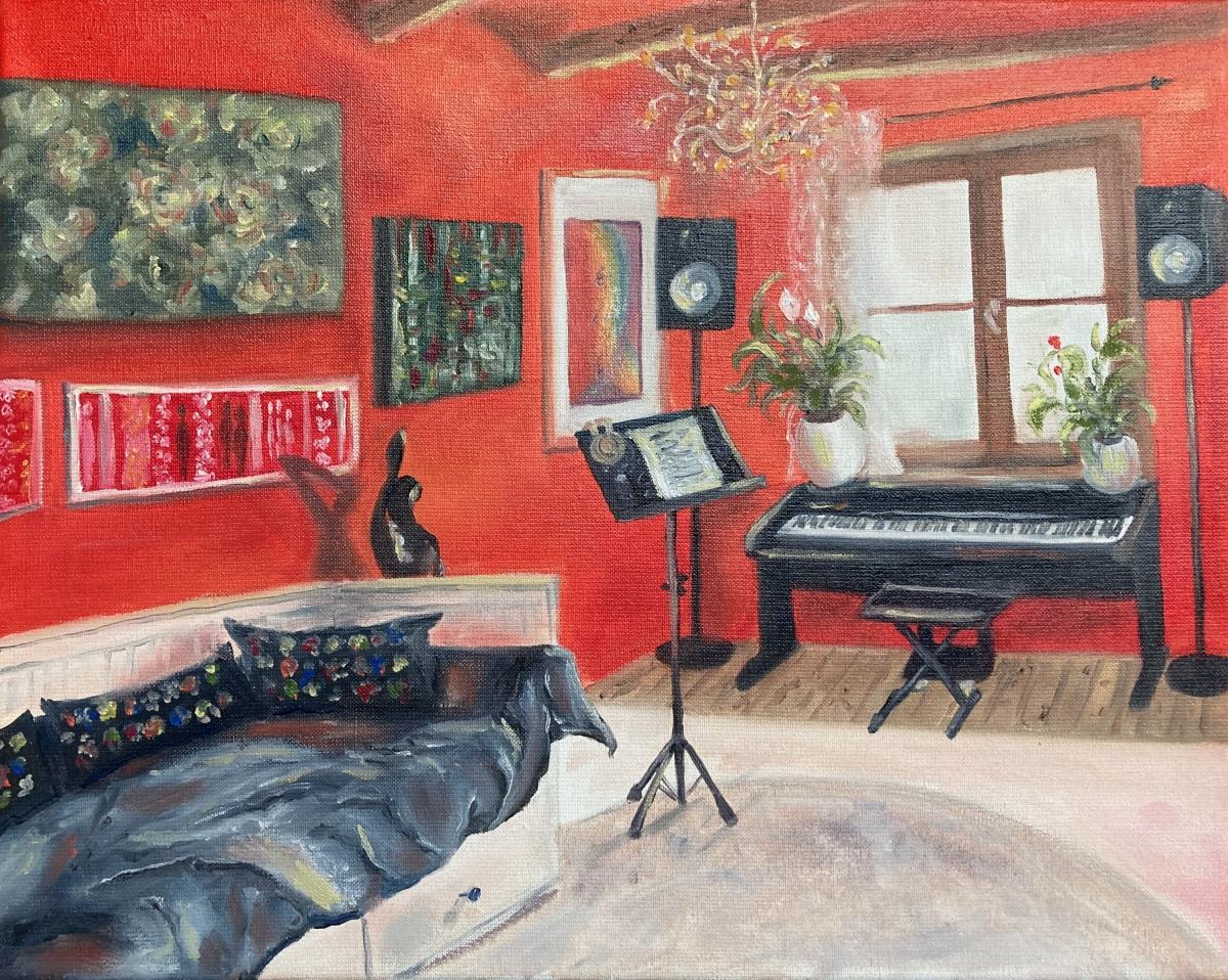Das Musikzimmer, Öl auf Leinwand, 40x50, 2020