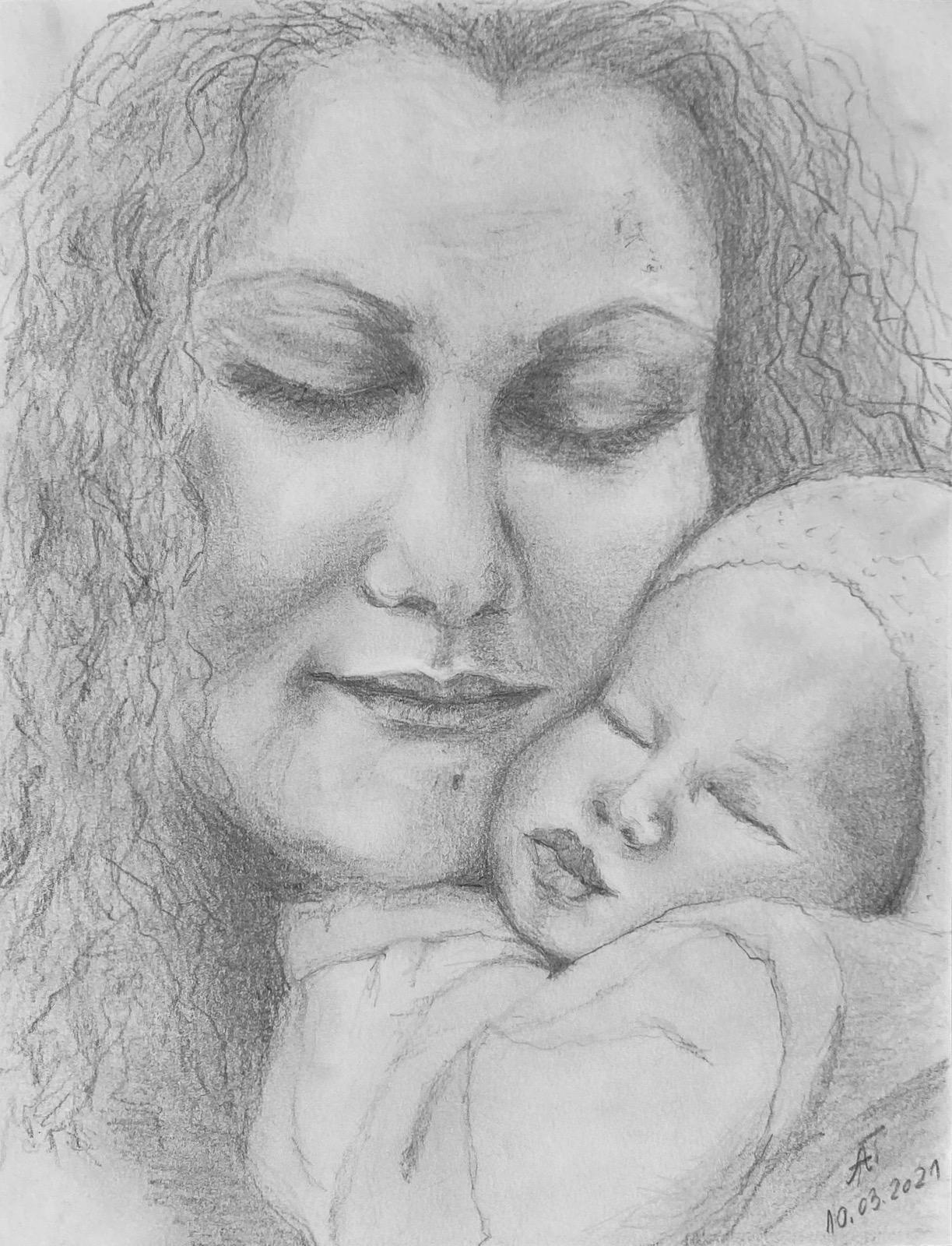 Mutterliebe, Bleistift auf Papier, 20x30,2020